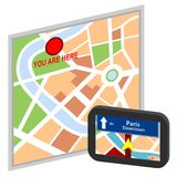 Map and satellite navigator Royalty Free Stock Photo