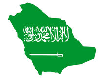 Map of Saudi Arabia Royalty Free Stock Photo