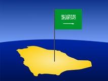 Map of Saudi Arabia with flag Stock Photo