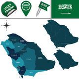 Map of Saudi Arabia. Vector map of Saudi Arabia with named divisions and travel icons royalty free illustration