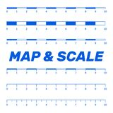 Map scales graphics for measuring distances. Scale measure map v. Ector. Latitude and longitude distance Royalty Free Stock Photo