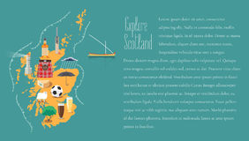 Map of Scotland in article template illustration, design element royalty free illustration