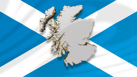 Map of Scotland and Scottish Flag. A 3D computer generated map of Scotland floating in front of the Scottish St Andrew's Saltire flag Stock Photo