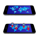 Map on the screen. Global communication. Royalty Free Stock Images
