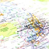 Map of Seattle. A map with the focus in the city of Seattle in the state of Washington, USA Royalty Free Stock Photo