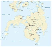 Map of the second largest Philippine islands Mindanao.  Royalty Free Stock Photos