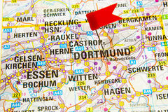 Map of the selected city Dortmund, Germany Stock Photos