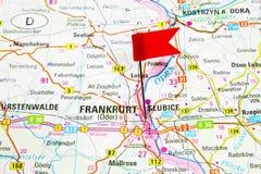 Map of the selected city Frankfurt, Germany - Slubice Poland Royalty Free Stock Photography