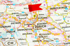 Map of the selected city Zurich, Switzerland Stock Images