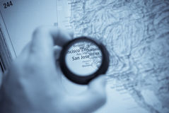 Map of Selective focus on antique map of  San Jose Royalty Free Stock Photos