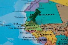 Map of Senagal with a green pushpin stuck Royalty Free Stock Image