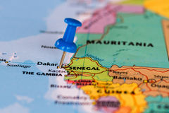 Map of Senegal with a blue pushpin stuck. Map of the state of Senegal Stock Photo