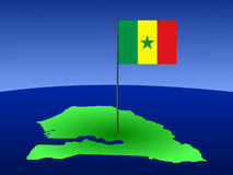 Map of Senegal with flag Stock Image