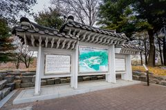 Map of The Seoul National Cemetery, which is located in Dongjak, Seoul, South Korea. Seoul, South Korea - March 19, 2018 : Map of The Seoul National Cemetery stock photography
