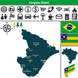 Map of Sergipe, Brazil Royalty Free Stock Photos