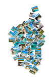 Map shape photo collage of Corsica landscape in France Stock Images