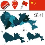 Map of Shenzhen with Divisions. Vector map of Shenzhen with named divisions and travel icons. There are chinese characters in a set - it means Shenzhen Royalty Free Stock Images