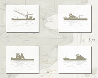 Map with ships Royalty Free Stock Photo