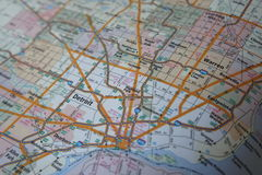 A Map Showing the Detroit Highways Coming out of Downtown Royalty Free Stock Photography