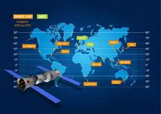 Map showing the risk zone where the China`s Tiangong-1 space station will crash into Earth. With 3D model of the space station. On dark blue background Royalty Free Stock Images