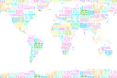 Map showing welcome in different languages. On white background Stock Photography