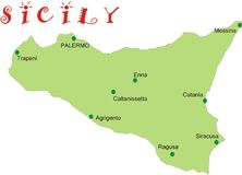 Map of Sicily. With the main towns Stock Image