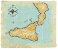 A map of Sicily is in age-old style Royalty Free Stock Photography