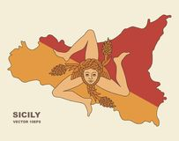 Map of Sicily in Sicily flag colors Stock Images