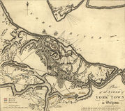 Map of the Siege of Yorktown, Virginia, 1781,. From Atlas of the battles of the American Revolution  printed in 1845 Stock Photo