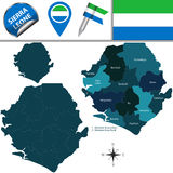 Map of Sierra Leone with Named Districts Royalty Free Stock Images