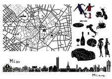 Map, sights  and hallmarks of Milan Royalty Free Stock Image