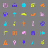 Map sign color icons on gray background Stock Photo