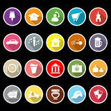 Map sign and symbol flat icons with long shadow Royalty Free Stock Photos