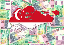 Map of Singapore with currency Royalty Free Stock Photos