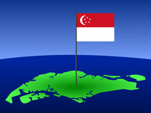 Map of Singapore with flag Stock Image