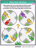 Map skills learning and training activity page with cars vector illustration