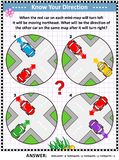 Map skills learning and training activity page with cars stock illustration
