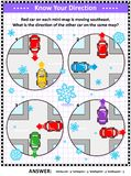 Map skills learning and training activity page with cars, winter theme stock illustration