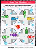 Map skills learning and training activity page with cars, winter theme royalty free illustration