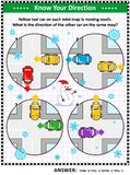 Map skills learning and training activity page with cars, winter theme vector illustration