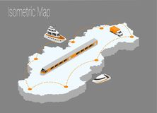 Map Slovakia isometric concept. Stock Images