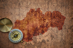 Map of slovakia on a old vintage crack paper Stock Photography