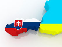 Map of Slovakia and Ukraine. Royalty Free Stock Photography
