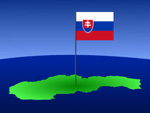 Map with Slovakian flag Stock Photos