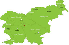 Map of Slovenia. Slovenia map designed in illustration with the regions colored in green colors and with the main cities. Neighbouring countries  are in an Royalty Free Stock Image