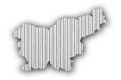 Map of Slovenia on corrugated iron Royalty Free Stock Image