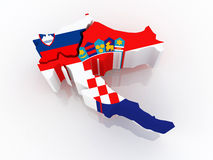 Map of Slovenia and Croatia. Royalty Free Stock Photo
