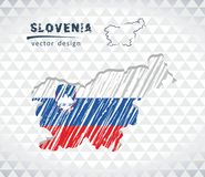 Map of Slovenia with hand drawn sketch map inside. Vector illustration. Vector sketch map of Slovenia with flag, hand drawn chalk illustration. Grunge design Vector Illustration
