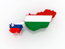 Map of Slovenia and Hungary. Royalty Free Stock Image