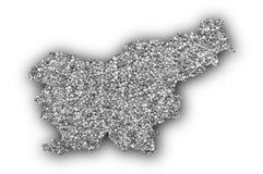 Map of Slovenia on poppy seeds Stock Photos